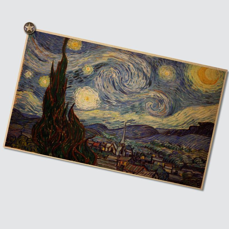 梵高名畫杏花 復古懷舊墻面貼畫海報油畫 客廳臥室咖啡廳裝飾畫芯
