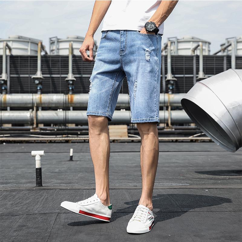 男士牛仔短裤夏季薄款潮流宽松五分韩版中裤破洞七分直筒休闲裤子主图