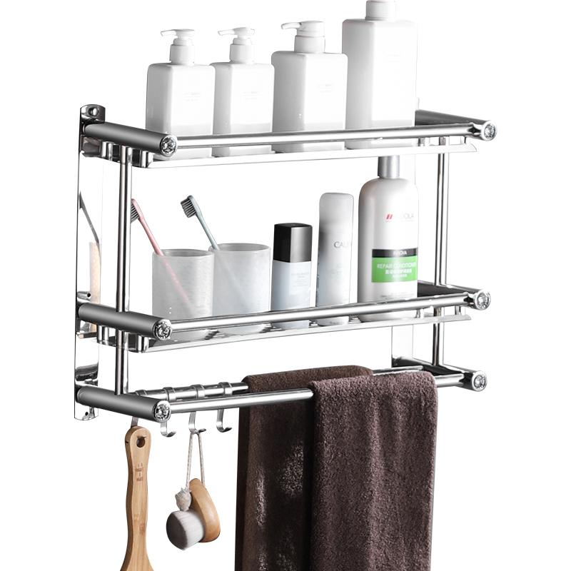 厕所毛巾杆挂件 3 层 2 卫生间毛巾架免打孔壁挂双层浴室置物架不锈钢