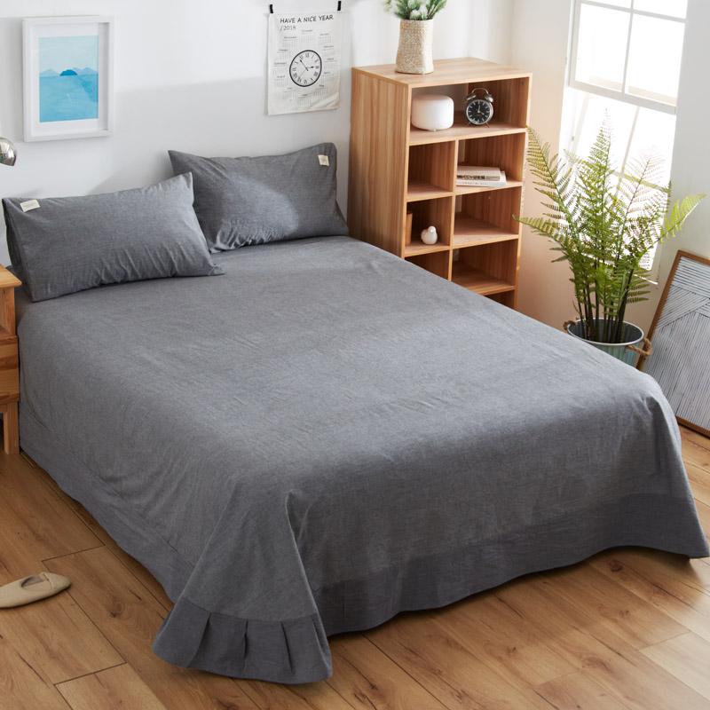 棉春夏單人雙人宿舍全棉布被單純色 100 日式純棉床單單件水洗棉