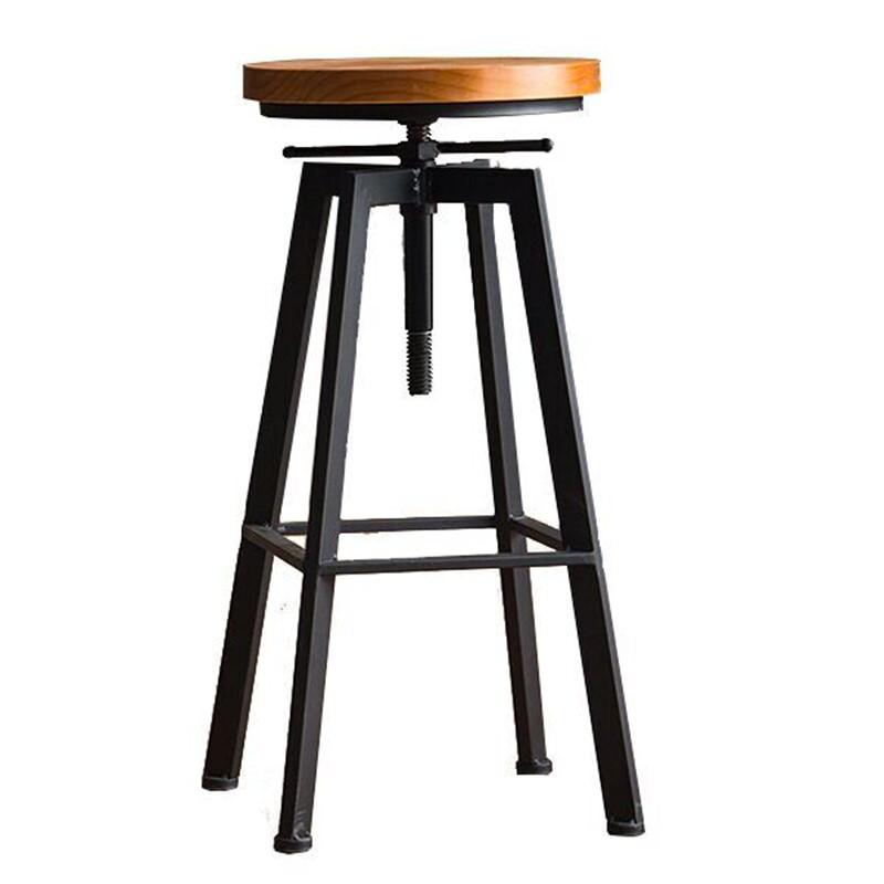 铁艺酒吧椅工业风旋转吧凳家用升降吧台椅实木高脚椅高吧台凳子