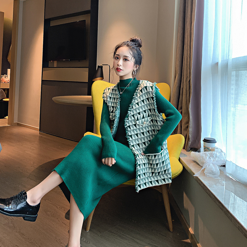 小香风马甲洋气套装初秋 秋季新款矮个子显高时髦裙子女两件套 2019