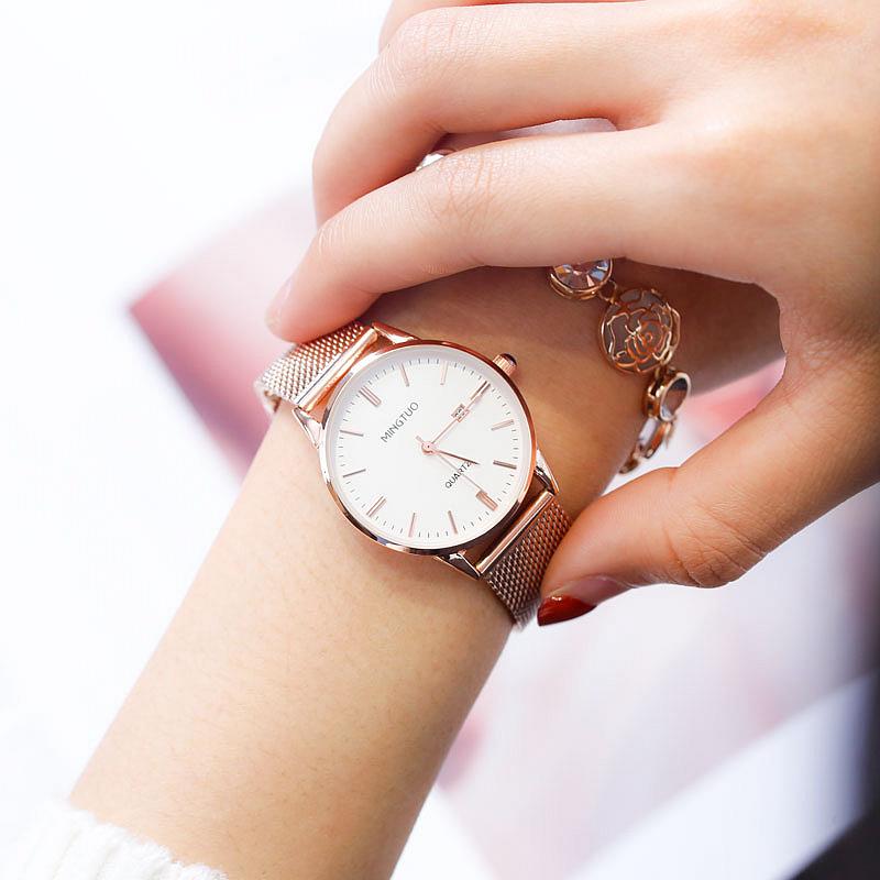 手表女簡約氣質學生  風小巧精致日歷女士石英表 ins 國產腕表新款 dw