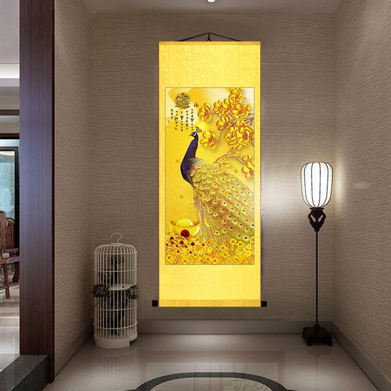 鳳凰裝飾畫入戶玄關招財辟邪客廳走廊盡頭壁畫孔雀過道掛畫卷軸圖