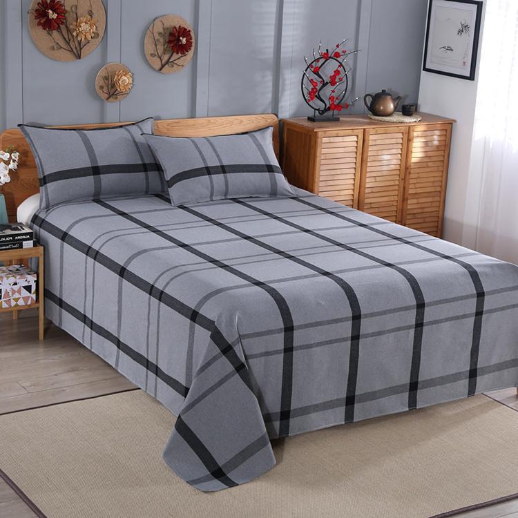 【天天特价】山东产地老粗布三件套双人条纹床单单人学生睡单