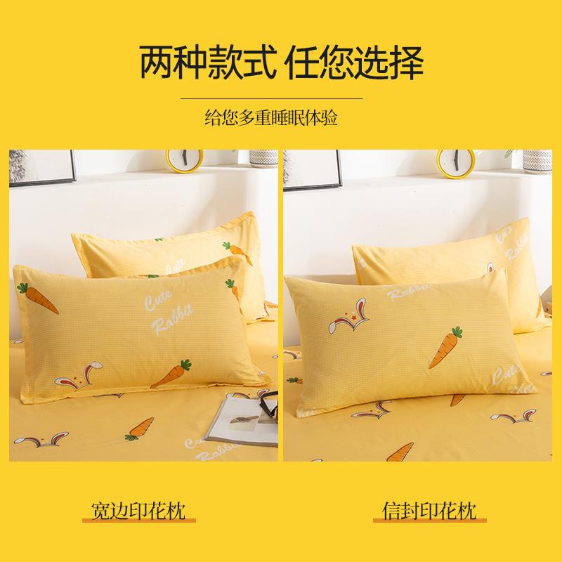 枕套一对装枕头套卡通单人双人磨毛水洗棉枕套学生宿舍家用48x74