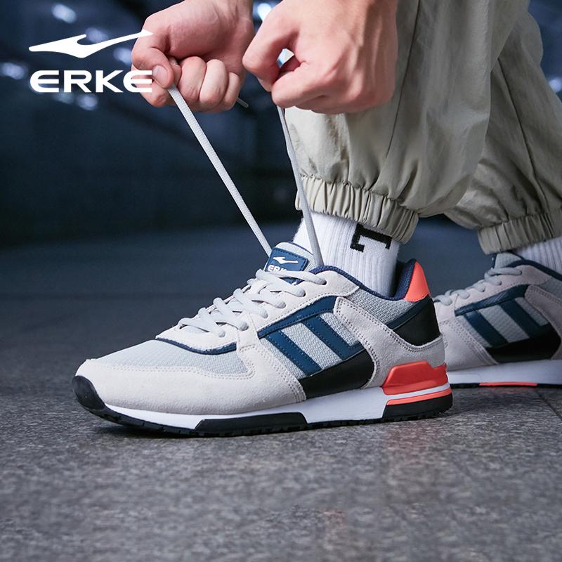 鴻星爾克男鞋夏季網面透氣男士復古休閒鞋輕便時尚跑步鞋旅遊鞋子