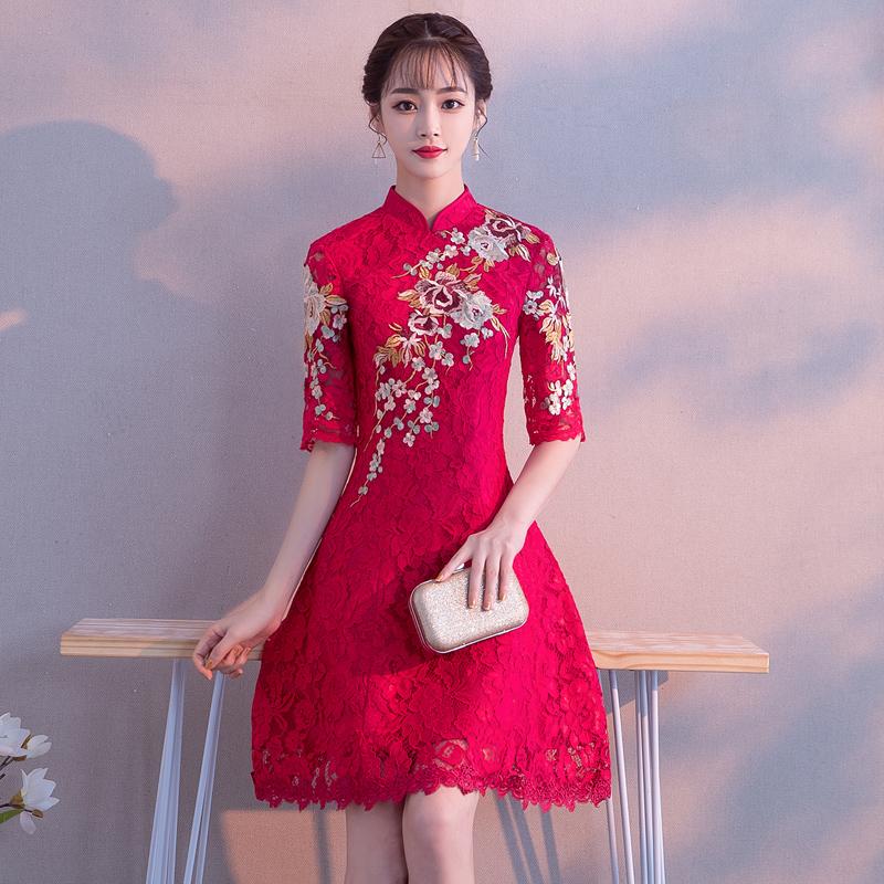 中式敬酒服新娘旗袍女改良短款2019秋款中袖红色结婚礼服裙中国风