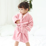 Baby flannel nightgown bathrobe autumn and winter children's coral velvet thicker section boys and girls baby pajamas nightdress