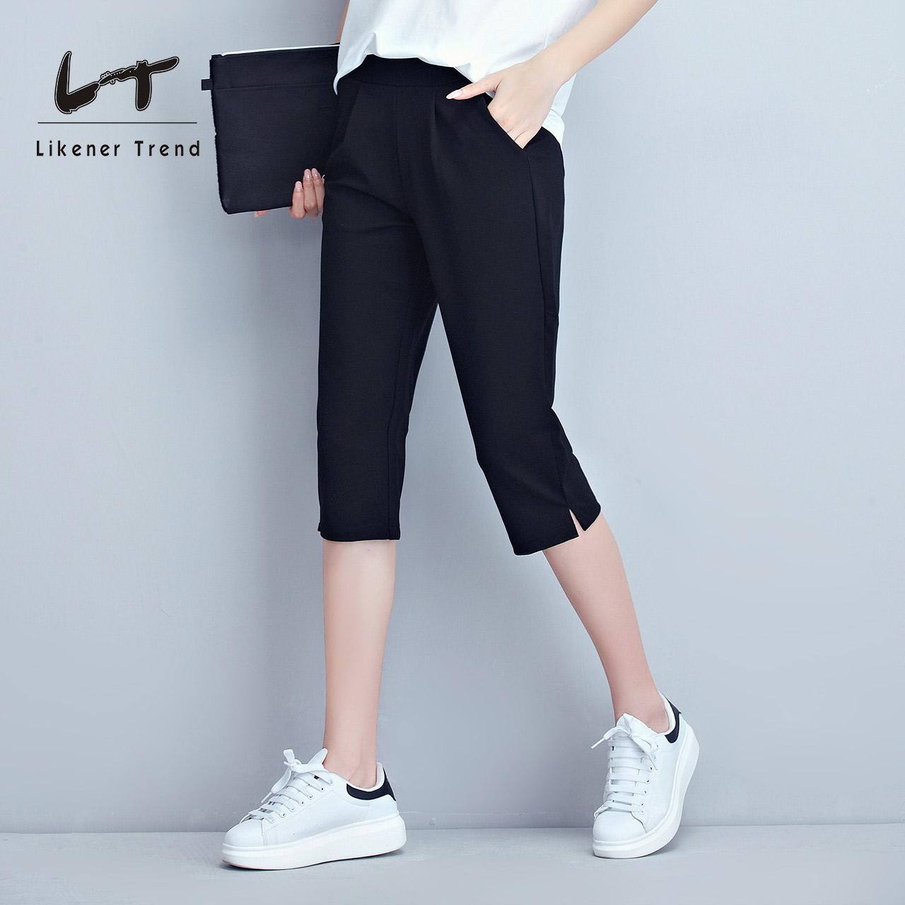 LT大码黑色运动七分裤女夏季薄款修身显瘦五分裤宽松中裤胖mm休闲