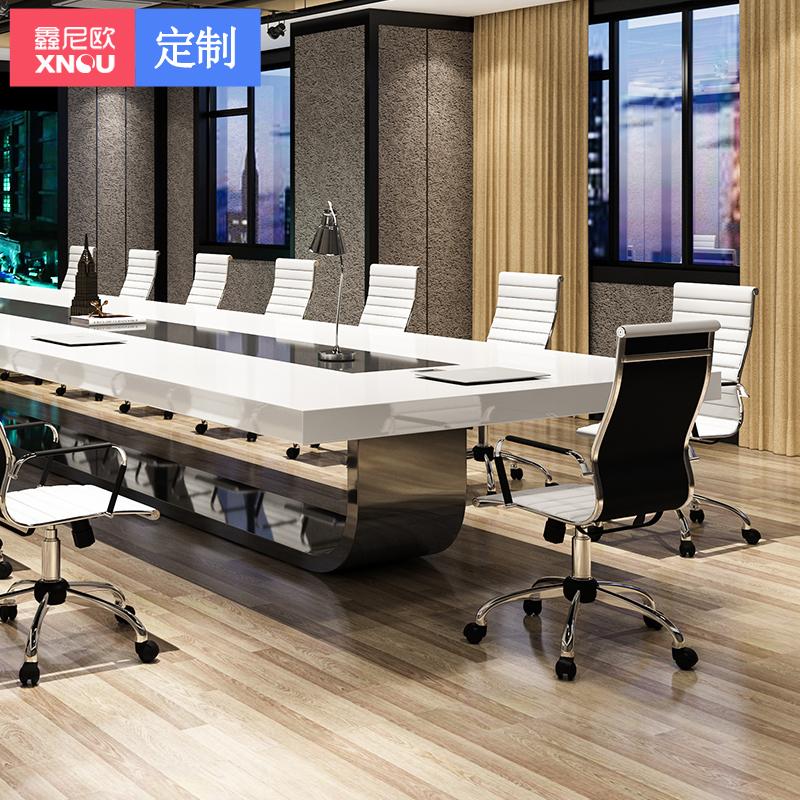鑫尼欧办公家具白色烤漆会议桌长桌简约现代大型办工桌椅长条桌