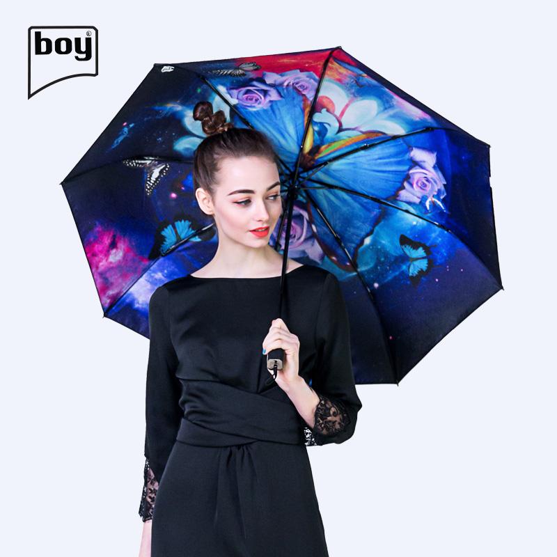 德国boy防晒伞黑胶双层折叠太阳伞防紫外线遮阳伞晴雨两用阳伞