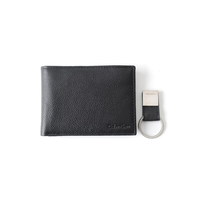 跨境Calvin Klein ck男士商務真皮短款錢包男鑰匙扣皮夾