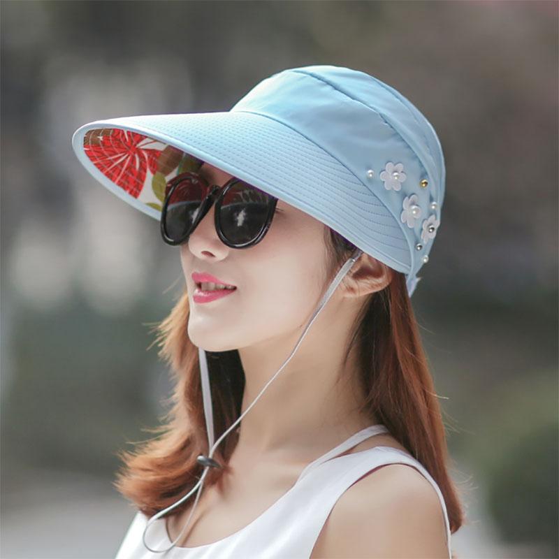 韩版女夏天大沿空顶户外夏季帽子休闲时尚可折叠防晒太阳帽遮阳帽