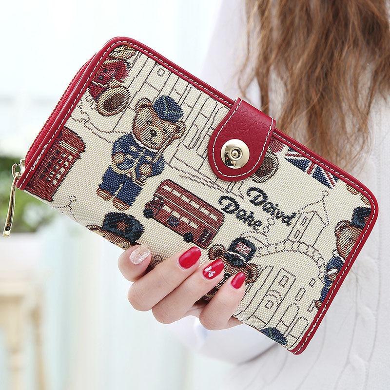 鄰家小妃女士錢包女長款 新款實用拉鍊磁扣可愛小熊學生皮夾