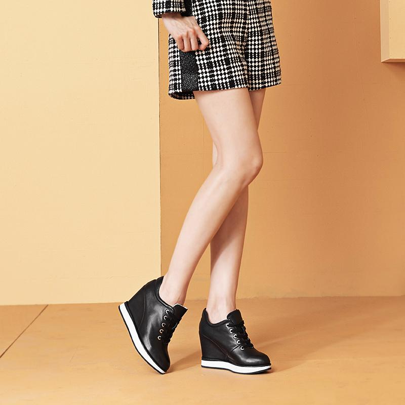 2019新款春季真皮内增高女鞋10cm坡跟厚底小白鞋休闲百搭运动单鞋