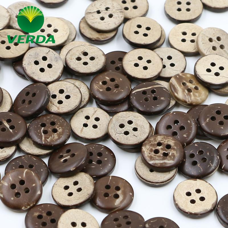 维达 椰子纽扣 椰壳扣 咖啡色手工DIY 儿童毛衣外套四眼扣子