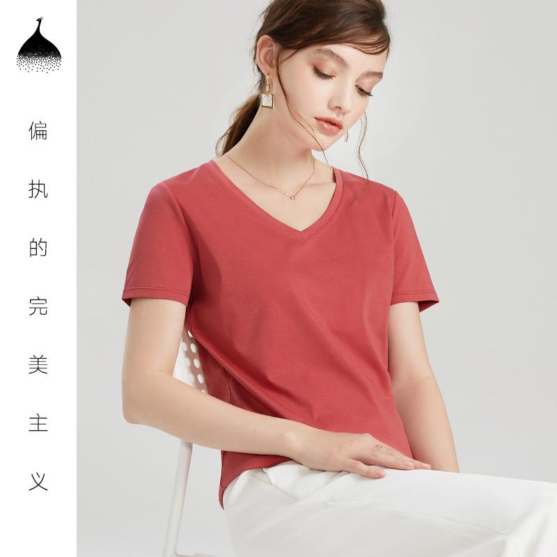 白色圆领T恤女夏2019新款纯色纯棉短袖修身百搭上衣半袖打底体恤
