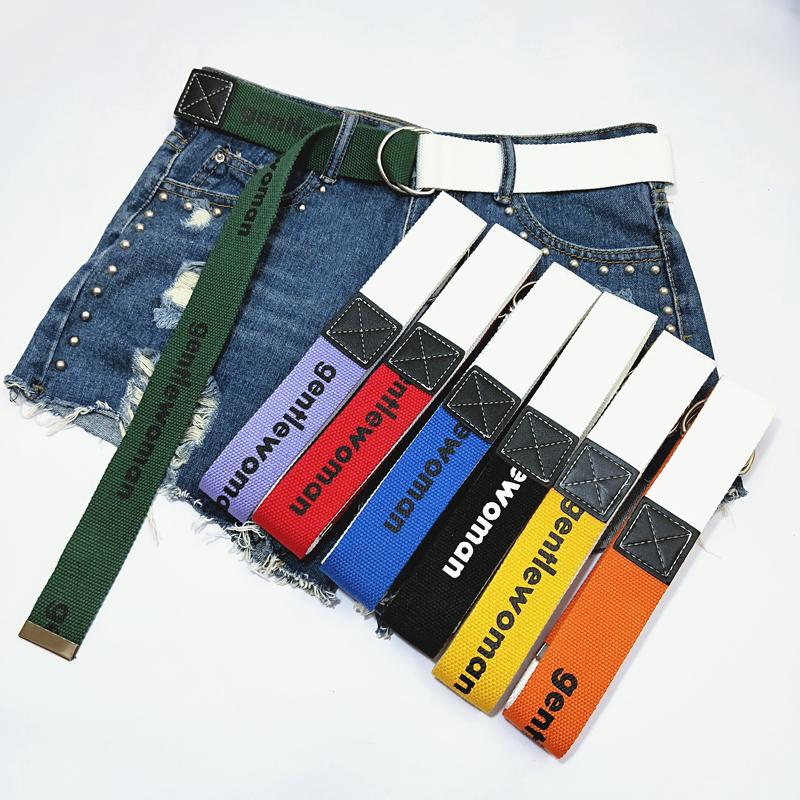 韩版INS帆布腰带女原宿BF风时尚装饰拼接双色青年皮带双