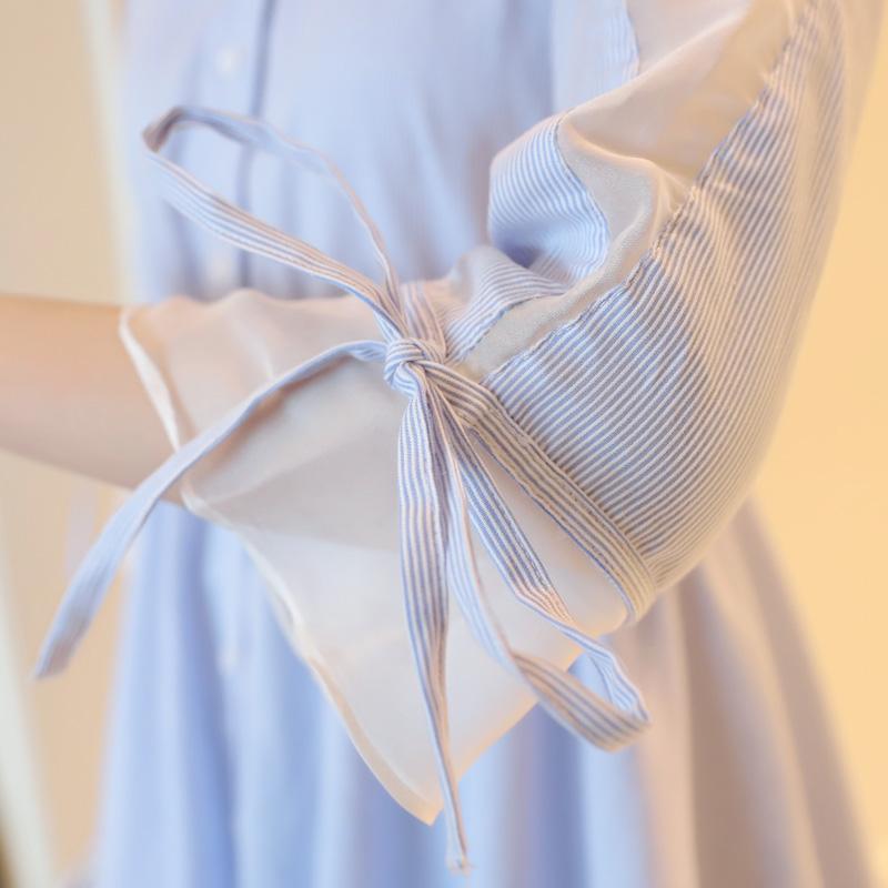 小清新连衣裙女夏装a字裙子秋季新款温柔裙超仙女收腰条纹衬衫裙