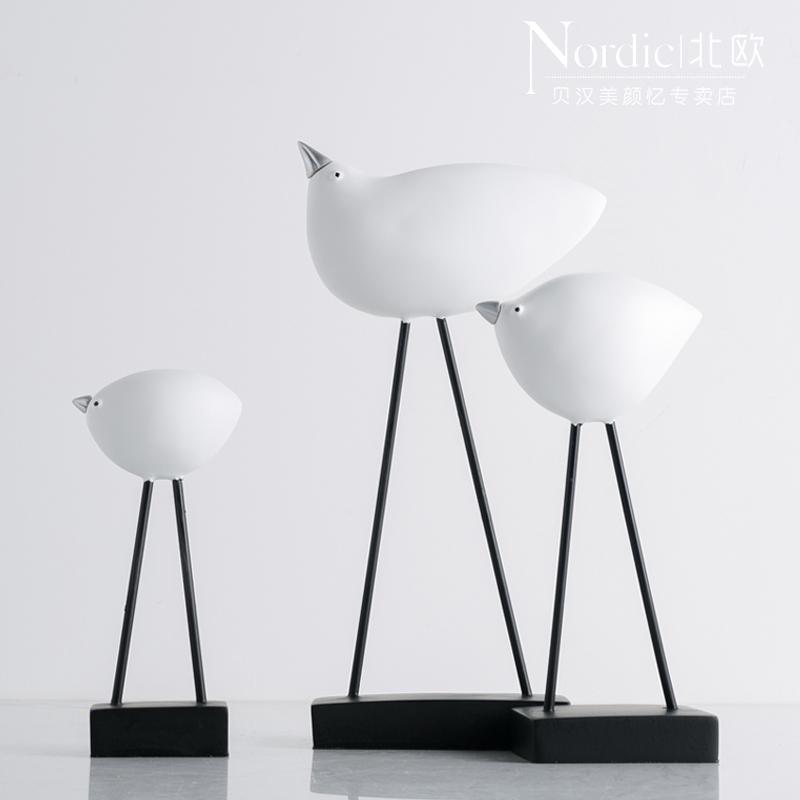 北歐家居電視櫃客廳擺件創意銀嘴鳥樹脂工藝品擺件現代簡約裝飾品