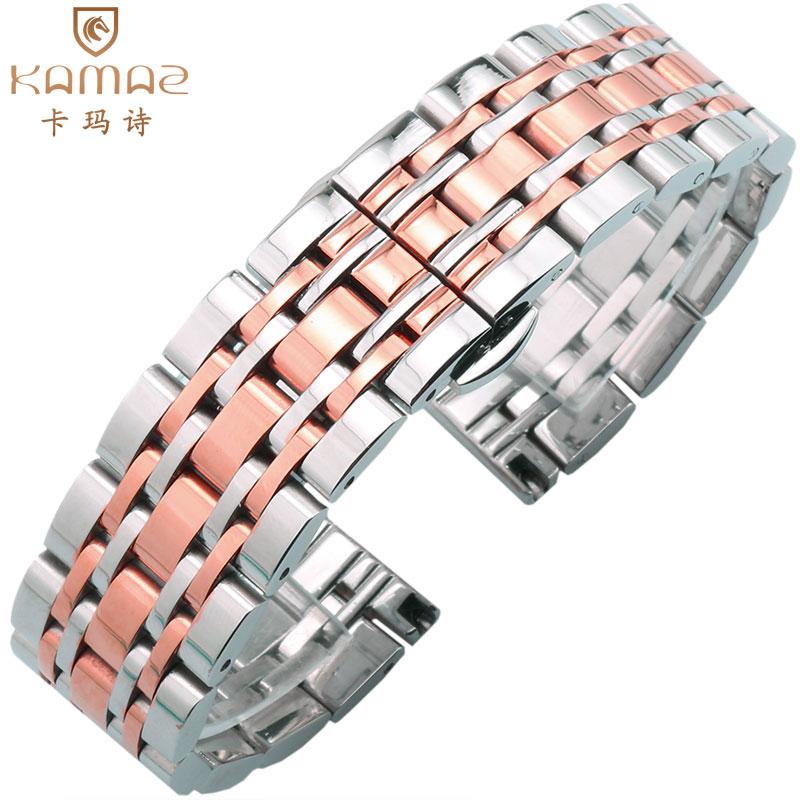 卡玛诗精钢手表带 不锈钢带蝴蝶扣适配阿玛尼 天王 罗西尼14 20mm
