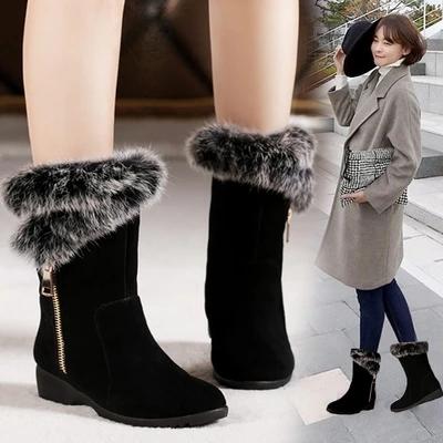 百丽辛迪拜保暖防滑兔毛雪地靴女中筒真皮圆头女靴平底坡跟短靴