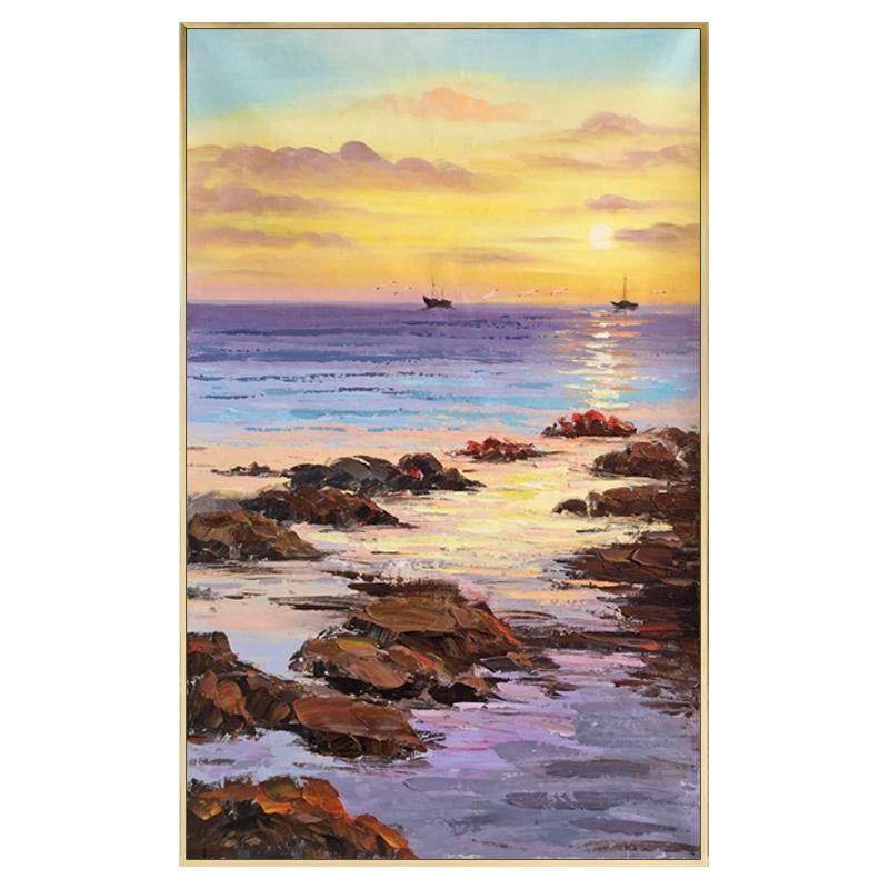 手繪油畫玄關裝飾畫豎版客廳一帆風順掛畫走廊過道風景壁畫輕奢