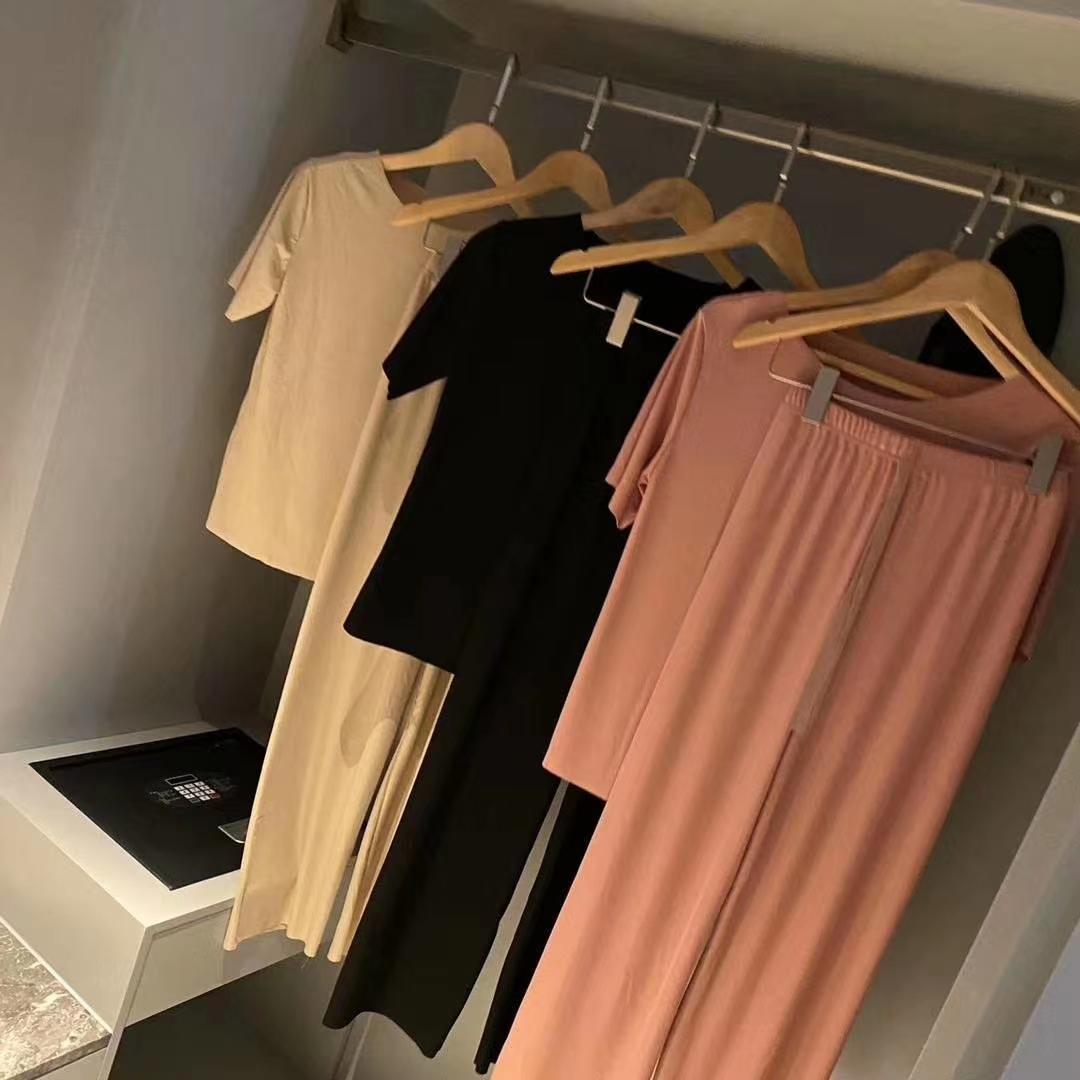 2020新潮款两件套阔腿裤短袖减龄显瘦家居服休闲女软软套装