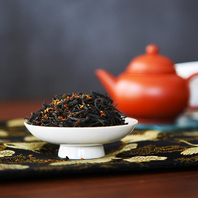 桂花红茶 50g 窨制花茶茶叶礼盒送礼奶香桂花茶罐装 桂花红茶 木叶