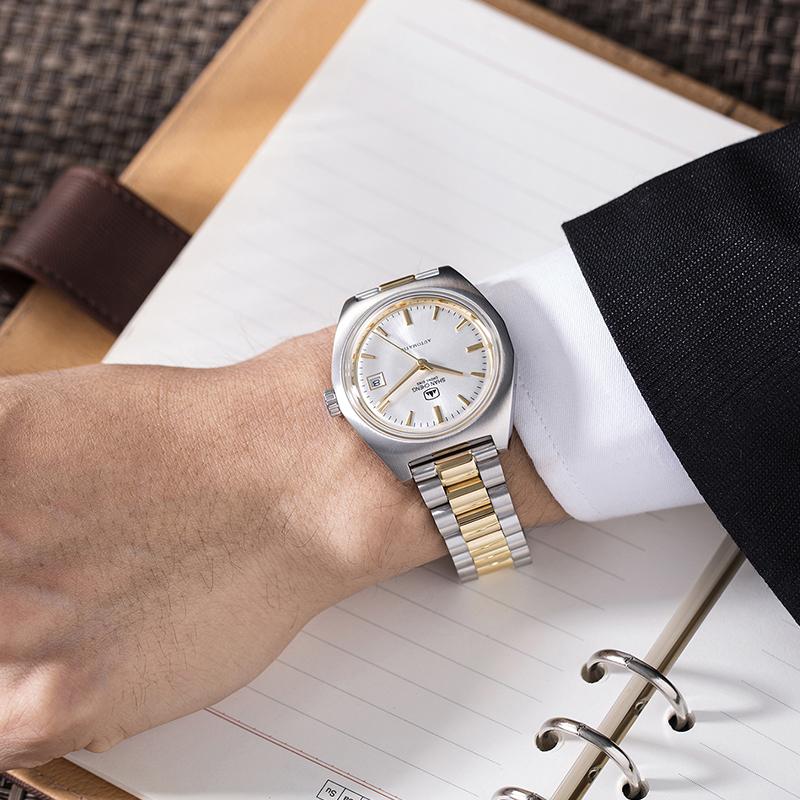 山城手表男精钢时尚间金色钢带时尚复古表盘防水全自动男士机械表