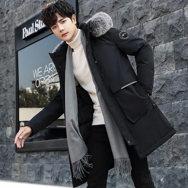 2019男士羽绒服潮冬季新款青年中长款外套防风加厚男装帅气大毛领