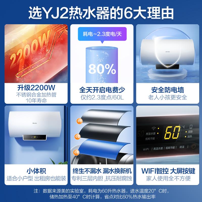 华凌电热水器电家用卫生间YJ2速热洗澡租房小型储水式40L50L60L升