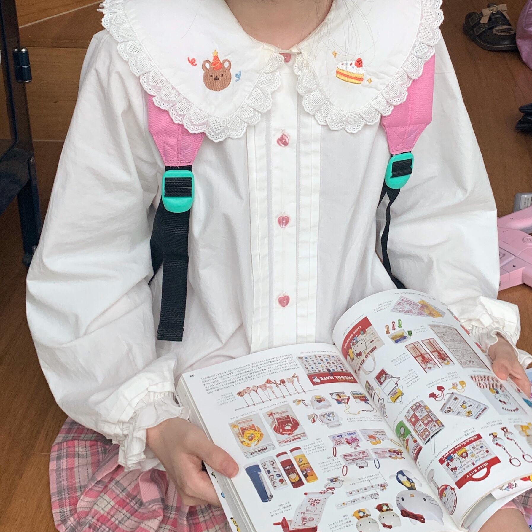 泡泡巴士popbus 原创蛋糕小熊刺绣娃娃领日系软妹宽松长袖衬衫女