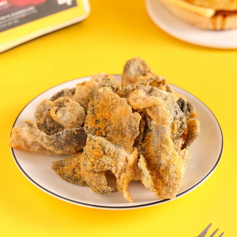 休闲美味 零食即食鱼皮 咸蛋黄鱼皮 港式网红鱼皮藤椒 BACK 味