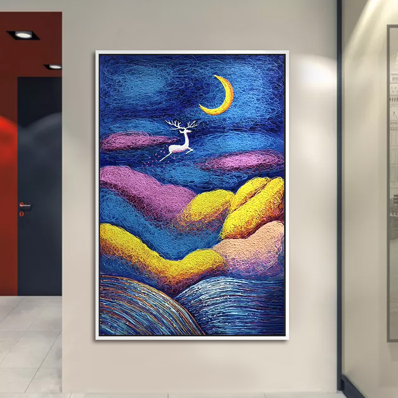 牧庭純手繪油畫吉祥鹿抽象畫歐式客廳裝飾畫玄關走道豎版掛畫定制