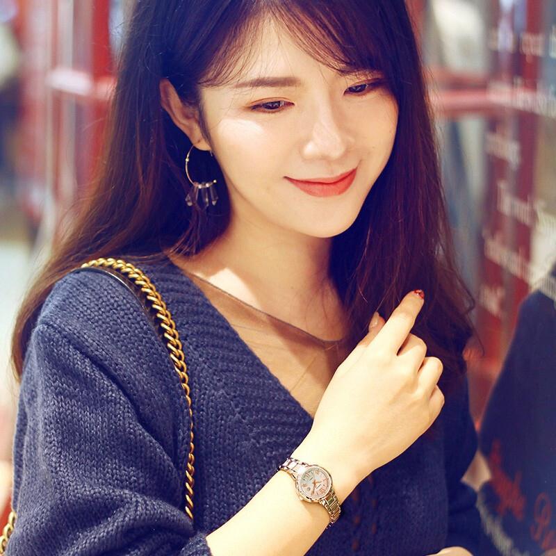 太阳能钢带皮带时尚简约女表小盘石英表 卡西欧手表女士 SHEEN 4516
