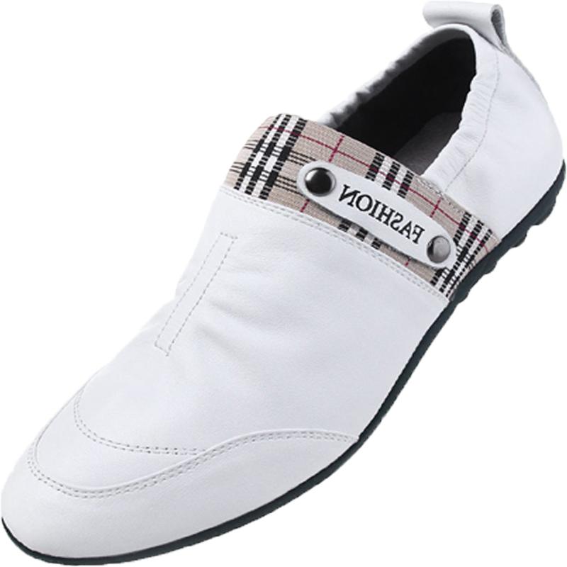 夏季皮鞋男白色休闲鞋头层牛皮真皮皮鞋套脚懒人鞋欧美青年低帮鞋