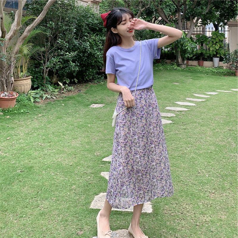 单件/套装 两件套装显瘦2020新款碎花紫色连衣裙子夏季大码女装【图6】