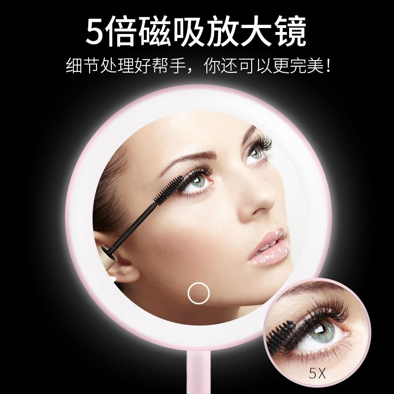 化妆镜子led带灯网红宿舍台式美妆小镜子桌面便携随身化妆镜YHJ【图3】