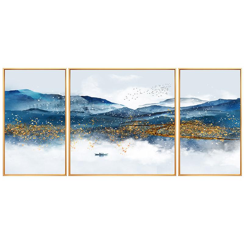 新中式手繪客廳沙發背景墻裝飾畫別墅餐廳風景油畫臥室壁畫三聯畫