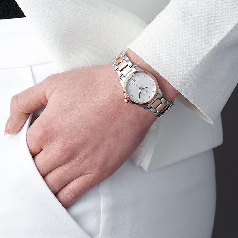 GUCCI手表女古驰正品贝母镶钻石英时尚女士手表YA126542