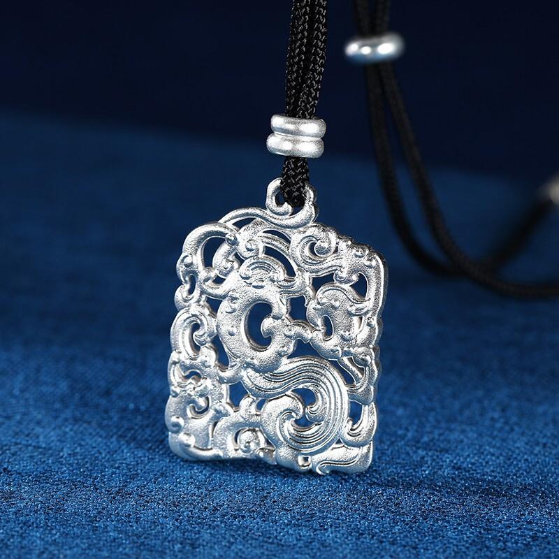商场同款,中国白银集团 骜世系列 足银999龙纹坠链