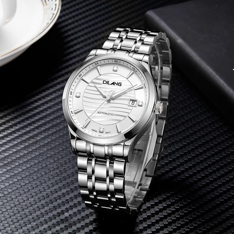 帝浪表 男士钢带皮带自动机械手表瑞士机芯情侣手表防水腕表K8