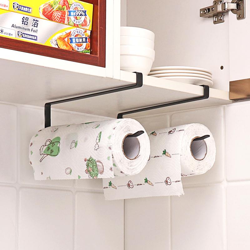 厨房纸巾架保鲜膜收纳架纸巾挂架免打孔餐巾架橱柜卷纸架悬挂家用
