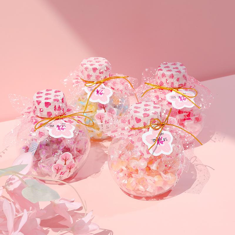 圣诞节糖果樱花珍珠糖瓶装彩色糖果办公室休闲酸甜硬糖休闲零食