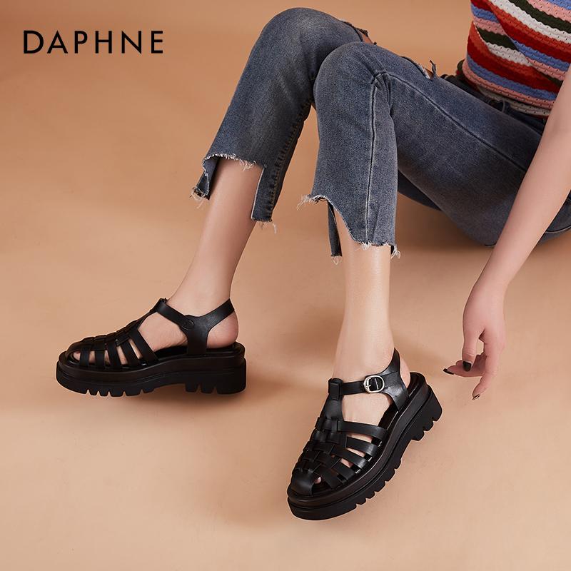 夏季春款防水台罗马鞋编织厚底包头镂空女鞋 2021 达芙妮凉鞋女平底
