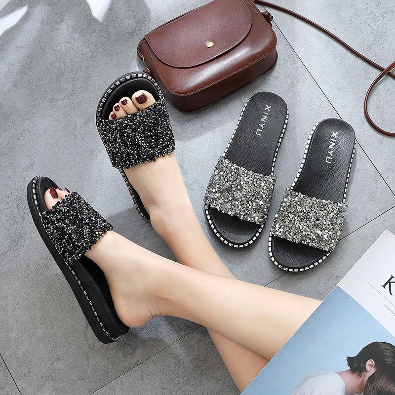 拖鞋女學生韓版新款百搭時尚外穿亮片厚底秋季一字拖沙灘網紅女鞋