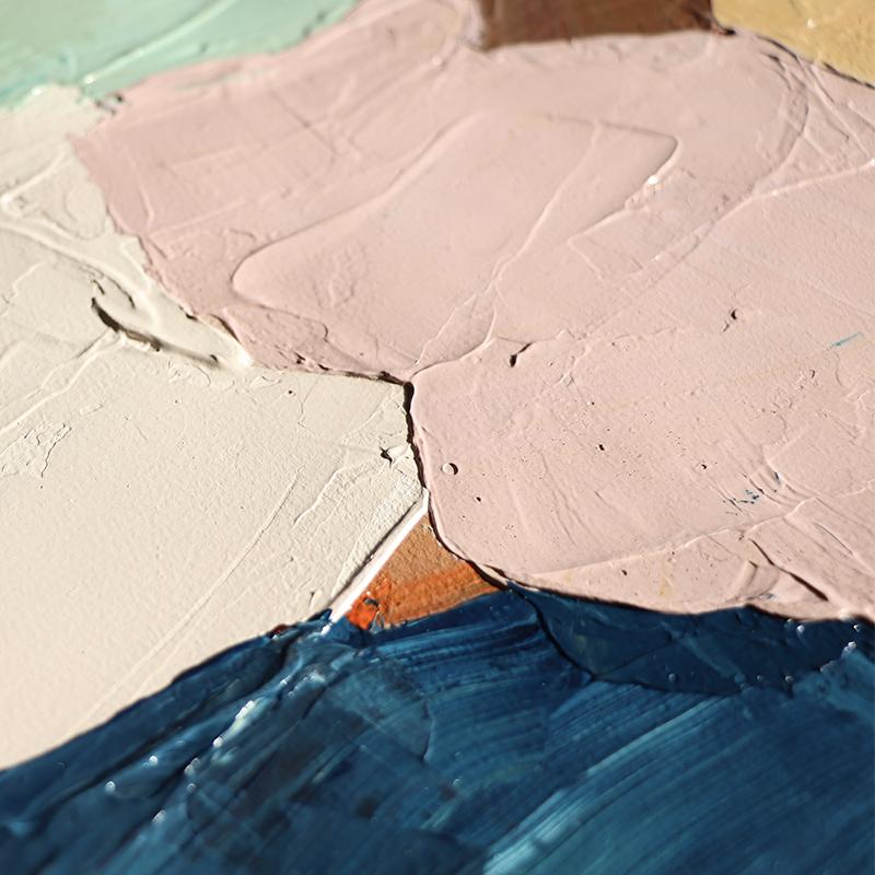 Jellypaint原創手繪   簡約現代純手繪油畫定制色塊玄關抽象掛畫