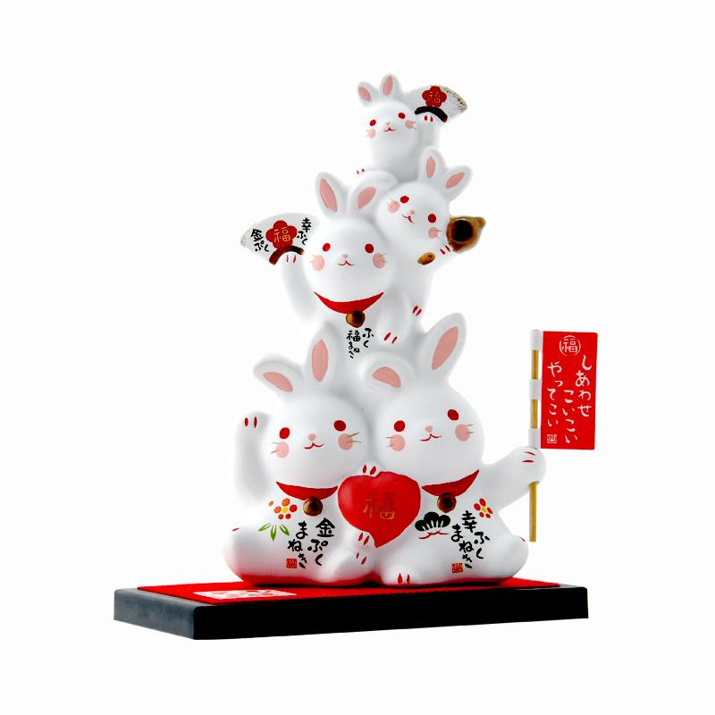 日本要师窑进口彩绘金运福运兔子叠罗汉陶瓷摆件招福招财生日礼物